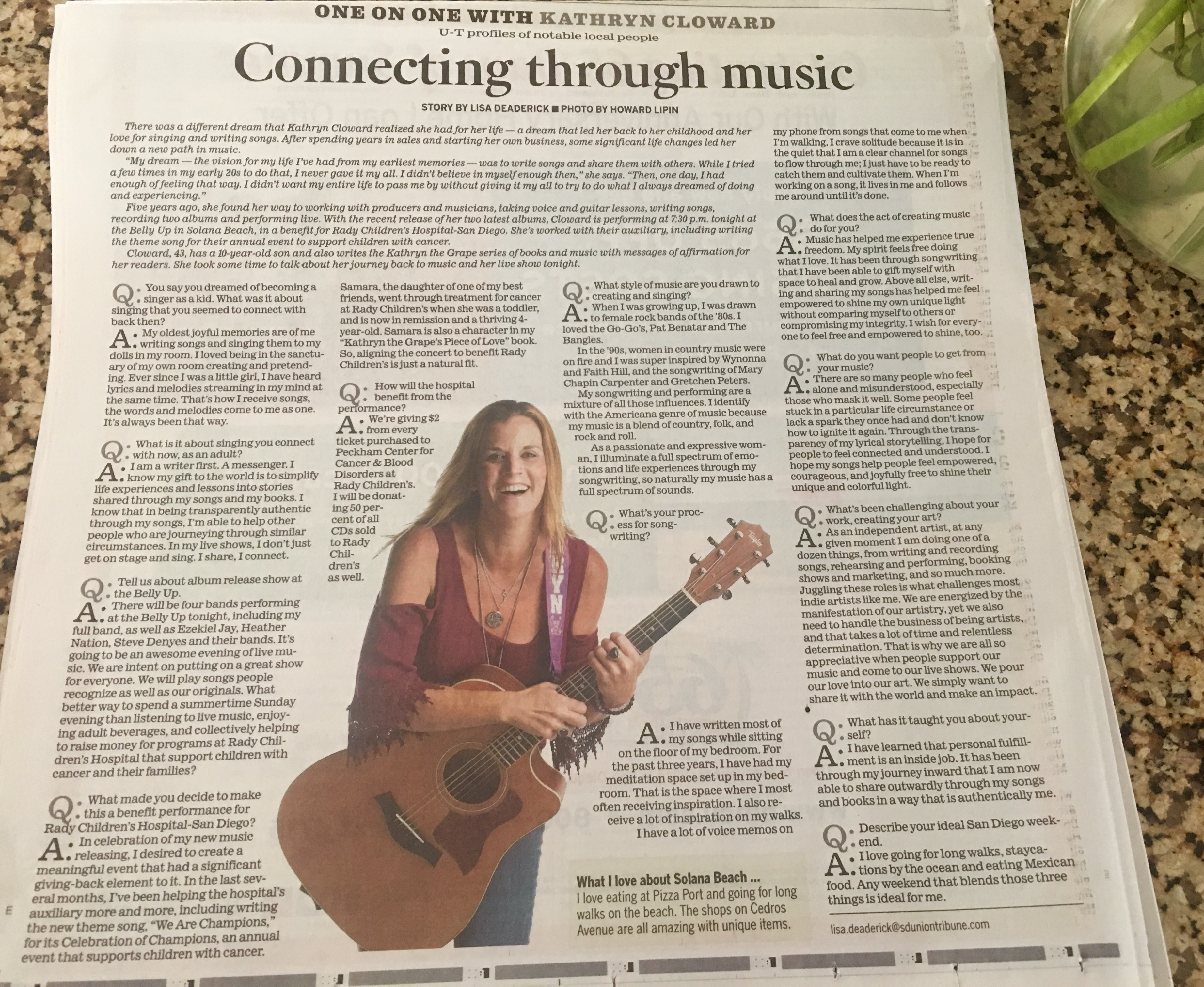 Kathryn Cloward Featured in the San Diego Union Tribune Belly Up Benefit Show for Rady Children's Hospital