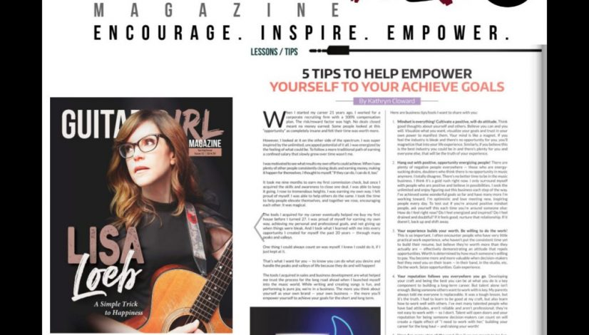 Kathryn Cloward Empowering Tips page 78 Guitar Girl Magazine 1400 x 1400